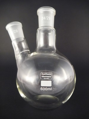 Flat bottom boiling flask 2 neck 24/29 500mL