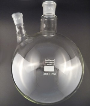 Round bottom boiling flask 2 neck 29/32, 24/29 3000mL